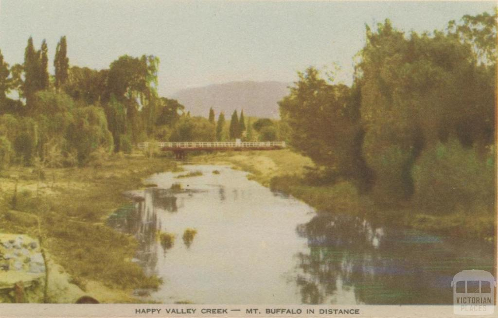 Happy Valley Creek - Mt Buffalo in distance, Myrtleford, 1953
