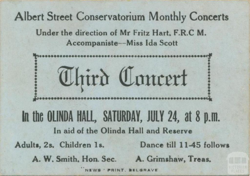 Concert, the Olinda Hall