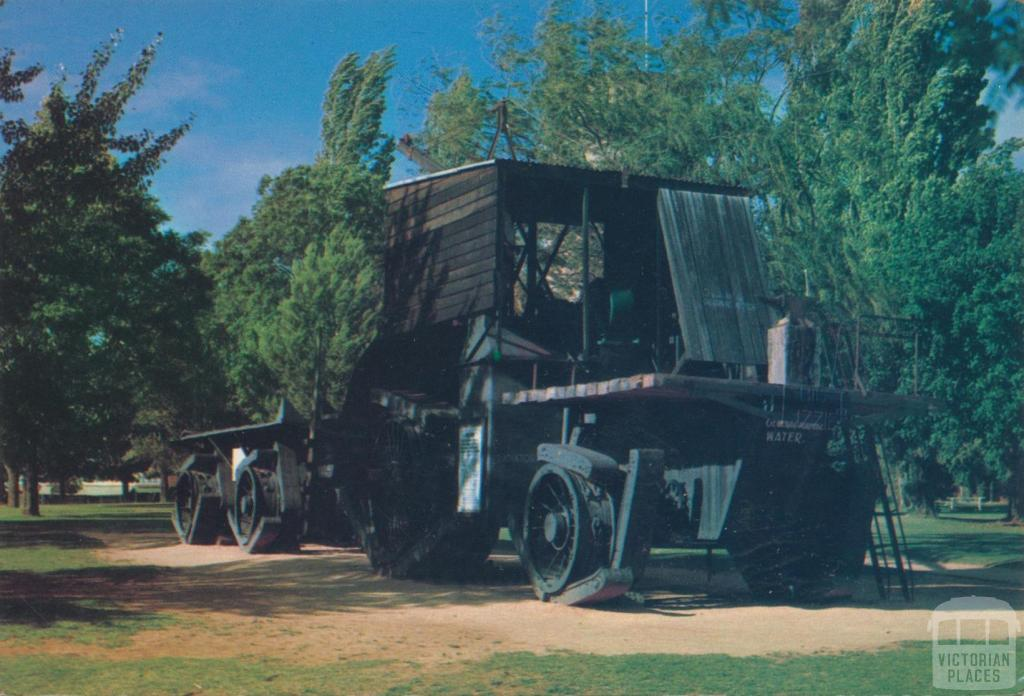Big Lizzie the tractor engine that cleared the Mallee scrub to establish vine growing, Red Cliffs