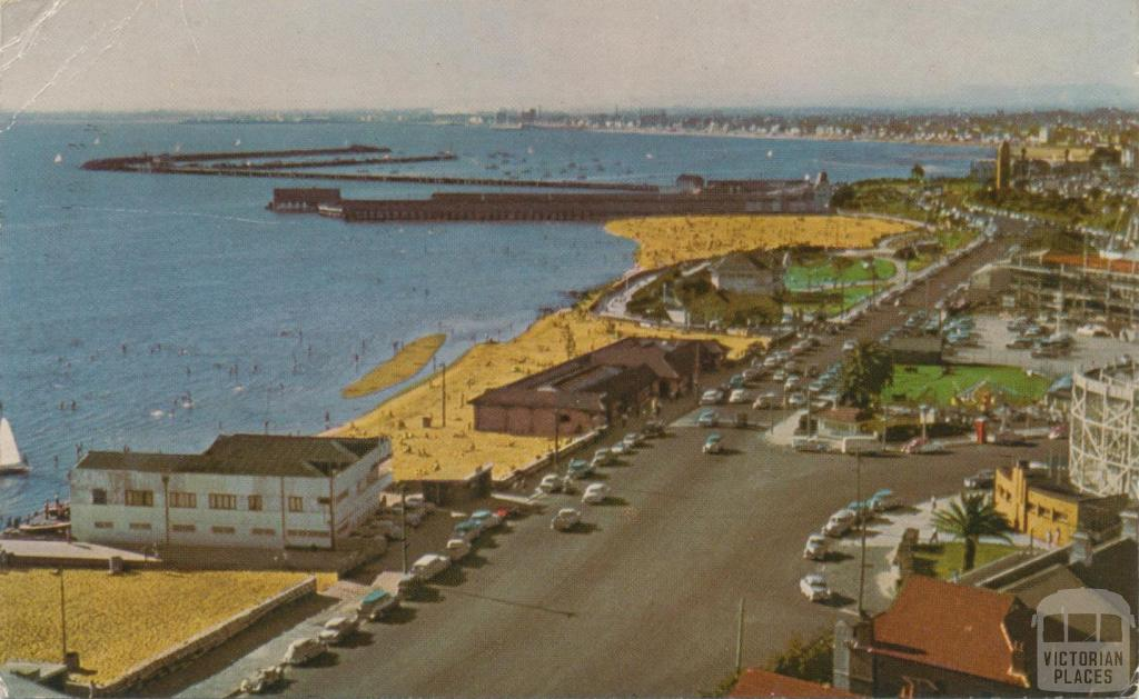 St Kilda foreshore, with baths and pier in the background