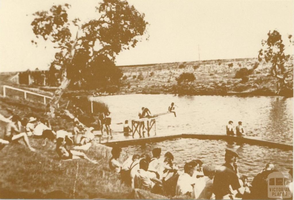 Swimming hole in Kororoit Creek, Sunshine, c1930