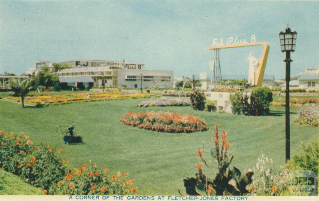 A corner of the gardens at Fletcher Jones Factory, Warrnambool, 1960