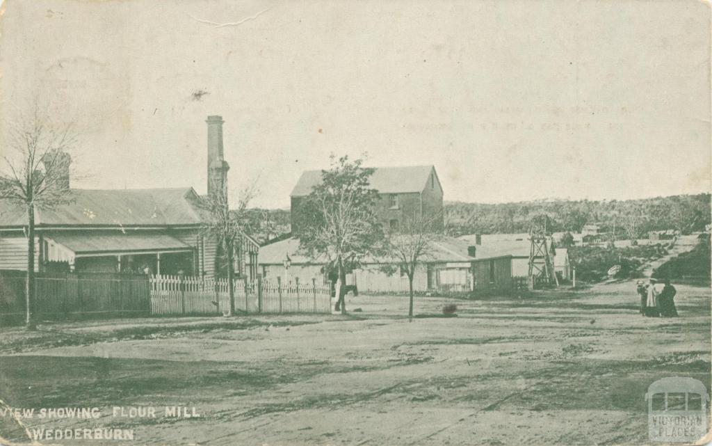 View showing flour mill, Wedderburn, 1927