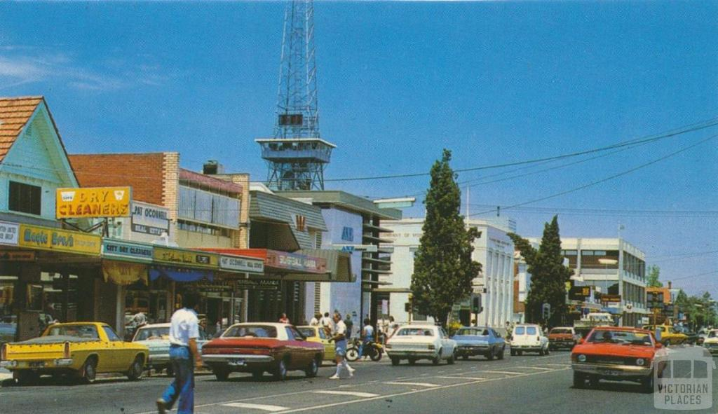 Wyndham Street showing telecommunications tower, Shepparton