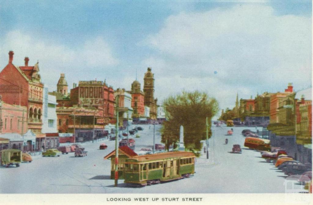 Looking west up Sturt Street, Ballarat, 1958