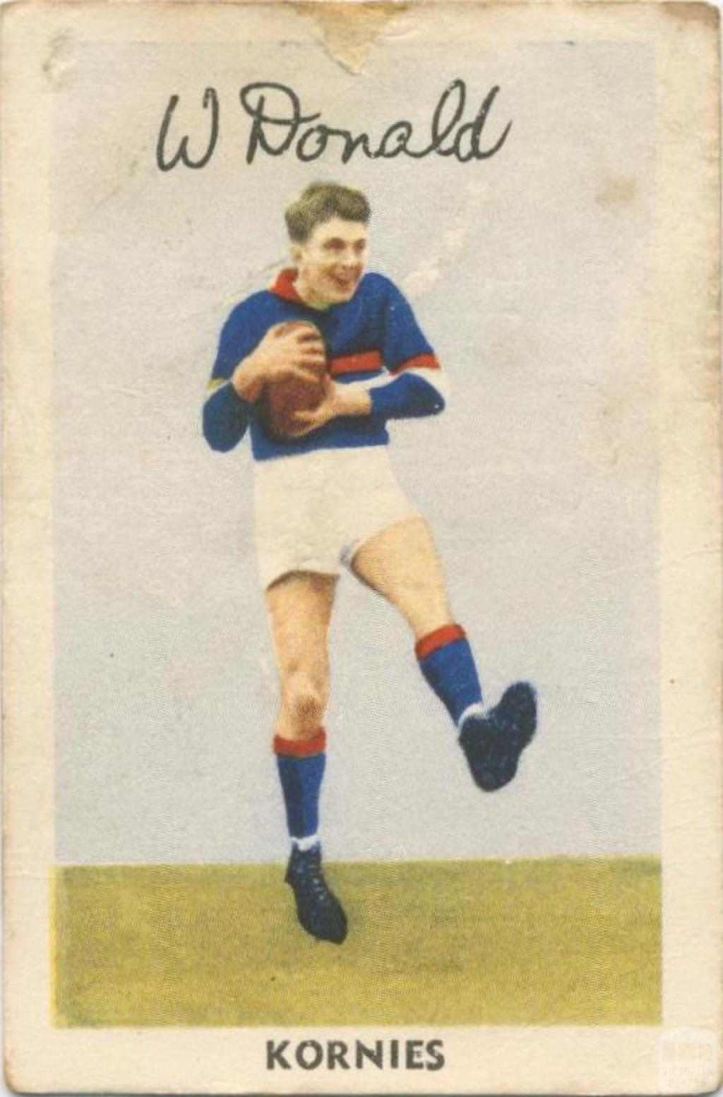 W. Donald, Footscray Football Club, Kornies Card